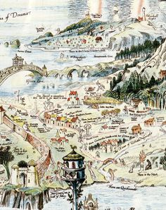 fairy land map illustrations | ... map of fictive gairyland plan antique bernard sleigh s map of the