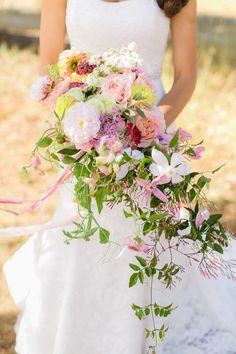 Organic and colorful bouquet: http://www.stylemepretty.com/california-weddings/2015/03/02/romantic-bay-area-wedding/   Photography: Hannah Suh Photography - www.hannahsuh.com