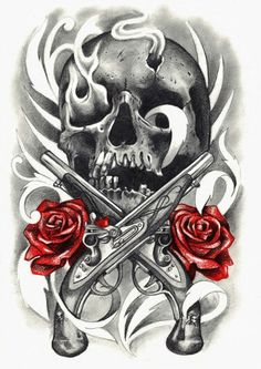 Skull rose and gun tattoo