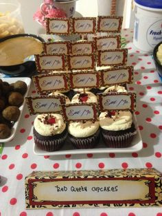 Tim Burton's Alice in Wonderland Themed Party - Red Velvet Cupcakes