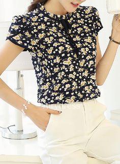 Cheap chiffon tops, Buy Quality chiffon blouse directly from China blouses plus Suppliers: 2017 Summer Floral Print Chiffon Blouse Ruffled Collar Bow Neck Shirt Petal Short Sleeve Chiffon Tops Plus Size Blusas Femininas Floral Print Shirt, Printed Blouse, Floral Prints, Evening Blouses, Maroon Shirts, Chiffon Tops, Print Chiffon, Chiffon Shirt, Floral Chiffon