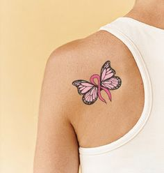 BUTTERFLIES BUTTERFLY CANCER RIBBON TATTOO