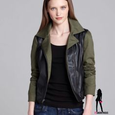 Ella Moss Mixed Media Moto Jacket S, M, L Ella Moss mixed media moto jacket has black vegan leather body and army green cotton blend sleeves. Rev up your moto look with multi texture and color. S, M, L Please ask. Ella Moss Jackets & Coats