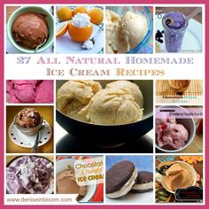 27 all natural homemade ice cream recipes - wow!