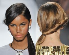 low ponytail with side part