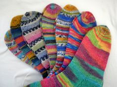 Hand knitted sock selection