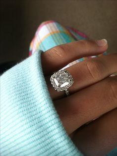 Harry Winston Style Cushion Micropave Halo Engagement Ring