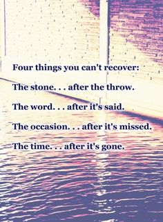 """""""Four things you can't recover:  The stone...after the throw.  The word...after it's said.  The occasion...after it's missed.  The time...after it's gone."""""""