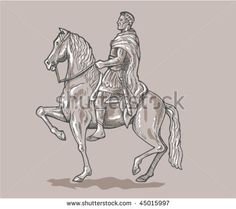 vector hand sketched, drawn vector illustration of a Roman emperor soldier riding horse. #Romanemperor #sketch #illustration