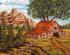 KEVIN FORD FINE ART - RUSTIC RANCH-acrylic on canvas 22 x 28  www.kevinfordfineart.com