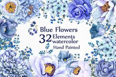 Blue watercolor flowers clipart by LeCoqDesign on @creativemarket