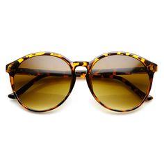 Large Retro Fashion P3 Keyhole Bridge Horn Rimmed Round Sunglasses 58mm 91f603d13c
