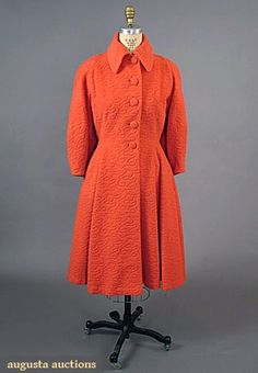 c. 1950 LILLI ANN CORAL WOOL COAT, Sheared wool in serpentine pattern, princess styling, deep inset balloon sleeves, covered buttons, back of collar w/ rhinestone embellished self-tie