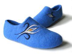 Blue women felt home slippers.Blue women house by FeltingLT, $60.00