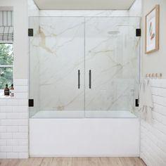 Bathtub With Glass Door, Bathtub Doors, Glass Bathroom, Glass Shower Doors, Shower Tub, Wood Bathroom, Glass Shower Enclosures, Guest Bathrooms, Bathroom Interior Design