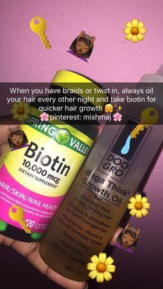 Biotin und Haarwuchs - New Ideas Pelo Natural, Natural Hair Tips, Natural Hair Journey, Natural Hair Styles, How To Grow Natural Hair, Natural Oils, Natural Skin, Hair Growth Tips, Hair Care Tips