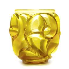 """RENE LALIQUE (1860 - 1945) Vase """"Tourbillons"""", ca. 1930. Yellow glass. Art Nouveau, Harlem Renaissance, Art Deco Design, Glass Design, Art Deco Glass, Art Deco Furniture, Mellow Yellow, Color Yellow, French Art"""