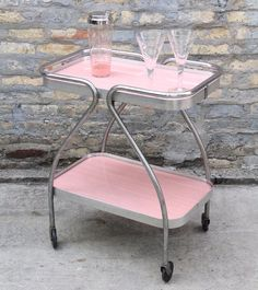 VINTAGE 1950s Pink Bar Cart                                                                                                                                                                                 More