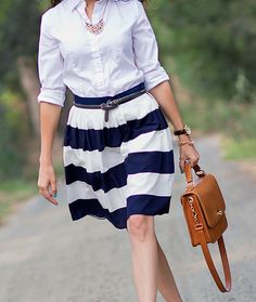 Pink Tartan skirt. Such a cute nautical feel.