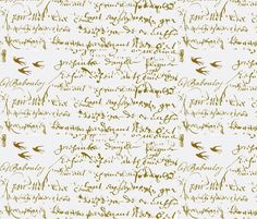 Handwriting and birds. Spoonflower Wallpaper. For crib wall?