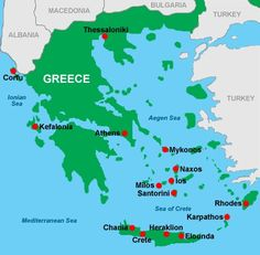 Can't decide between Santorini and Athens. Greece Map, Greece Hotels, Corfu Greece, Greece Travel, Mykonos, Santorini Map, Heraklion, Elounda Crete, Albania