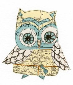 Joshua  lil' art card giclee print collage owl by 29blackstreet, $14.00
