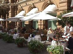 Cafe in Helsinki Finland. Outdoor or street cafes were very common throughout Scandinavia.