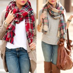 Plaid scarves #swoonboutique