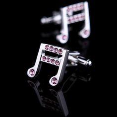 Music Note Pink Crystal Inlay Cufflinks