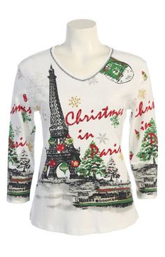 Jess N Jane Christmas in Paris Dressy Ladies Ladies Rhinestone T Shirt Whitesmall *** Find out more about the great product at the image link.