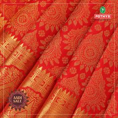 Brides-to-be grab this red with golden thread samudrika pattu and make your big day brighter than you ever imagined. Latest Silk Sarees, Soft Silk Sarees, Wedding Silk Saree, Bridal Wedding Dresses, Pakistani Dress Design, Pakistani Dresses, Saree Collection, Bridal Collection, Marathi Saree