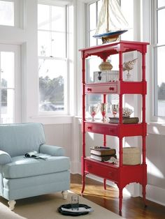 Got some old coffee tables lying around?  Why not pile them up and spray in a high gloss red like these?  Recycle!    Follow me on www.ideainteriors.blogspot.com!    Enjoy!        Via stanley furniture
