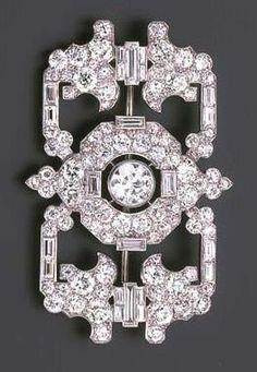Cartier London Art Deco Brooch Openwork Design Diamonds ca. 1930.