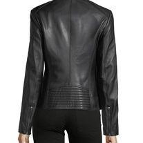 Womens BLACK Leather Biker Jacket Italian Designer Slim Fit Zip Up Casual Coat