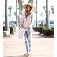 This casual, yet chic weekend look is on forallthingslovely.com tomorrow!As you can tell, I'm slightly obsessed with these distressed jeans - less than $100!  Shop all outfit details here: www.liketk.it/2ieZJ #liketkit #CA #caligirl #weekendstyle #valentino #louisvuitton #beachchic #classicstyle #neutralischic #forallthingslovely