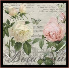 Decoupage Paper Napkins - Roses -  Use For Decoupage, Mixed Media, Scrapbooking, Collage And Altered Art Projects