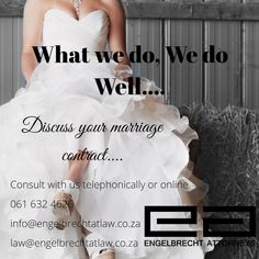 "Getting married?  We can assist with marriage contracts.  ""Proper planning prevents poor performance""  Engelbrecth Attorneys  Contact us: Eloise Engelbrecht +27616324626  info@engelbrechtatlaw.co.za law@engelbrechtatlaw.co.za  Or leave your contact details and email and i will contact you as soon as possible.  Our firm is glad to assist with the following:  ➡️Marriage contracts ➡️Life partnership agreements ➡️Civil union agreements ➡️Customary marriage agreement Getting Married, One Shoulder Wedding Dress, Law, How To Plan, Wedding Dresses, Fashion, Bride Dresses, Moda"