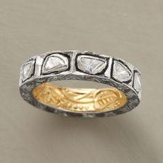 ᏝᏅᏤᎬ~ANTONIA RING--Randomly shaped, uncut diamonds Sterling silver polished inside with 18kt gold highlights.
