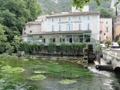 The water in Fontaine du Vaucluse is so clear you can see the plants swaying in the current, Provence 2011