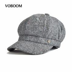 VOBOOM Woolen Women Newsboy Octagonal Cap Herringbone Soft Woolen Lady Fedora 8 Panel Hat with Lining 173 #VOBOOM #Newsboy_Caps #women_clothing #stylish_Newsboy_Caps #style #fashion