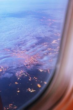 Airplane view of dusk from above.