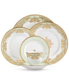Marchesa by Lenox Rococo Leaf Collection - Fine China - Macy's Bridal and Wedding Registry Casual Dinnerware Sets, Lenox China, China China, Bone China, Fine China Dinnerware, French Rococo, Elegant Dining, China Sets, China Patterns