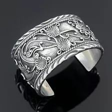 Sterling silver applique cuff bracelet by Gary Reeves