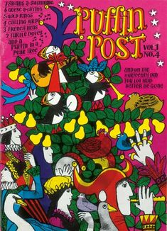 An issue of the Puffin Post, Puffin Books' quarterly magazine launched in 1967. No word on illustrator. Clearly the Christmas issue.