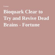 Bioquark Clear to Try and Revive Dead Brains - Fortune