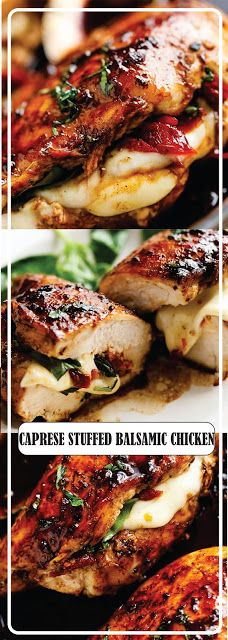 Caprese Stuffed Balsamic Chicken Recipe, Caprese Chicken, Dinner Dishes, Dinner Recipes, Simple Recipes, Healthy Recipes, Chicken Thigh Recipes, Easy Meals, Cooking Recipes