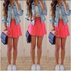 Shirt: shorts skirt jacket bag tank top dress skater skirt pink jeans... ❤ liked on Polyvore