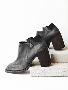 Upper Peak Ankle Boot | Washed soft leather ankle boots featuring a wooden stacked heel.  Elastic band in back and side tabs for an easy on-off.  *By Jeffrey Campbell + Free People