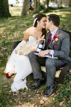 gift exchange on wedding day - in a swinging chair - Fall wedding  Larissa & Casey — Daring Tales of Darling Bones