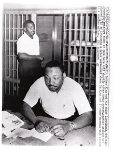 A wire photo of Dr. Martin Luther King and Rev. Abernathy in jail in Albany, Georgia in 1964.